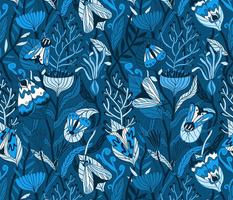 Night garden. Blue moths. Monochrome design.