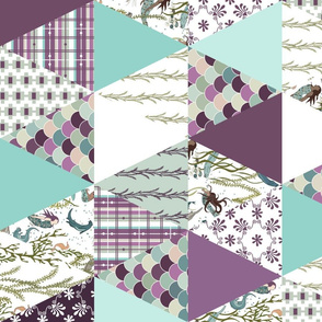 Mermaid - Purple, Turquoise, White - cheater quilt, whole cloth quilt, triangle quilt