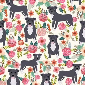pitbull floral (large) dog breed fabric pibble pitbulls