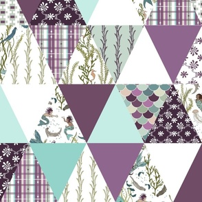 Mermaids - Purple, Turquoise, White - cheater quilt, whole cloth quilt, triangle quilt