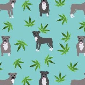 420 Pitbulls - dog pitbull, weed, pattern - blue