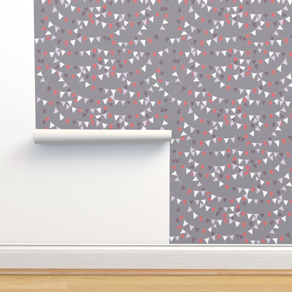 Isobar Durable Wallpaper featuring bunting coral grey by katarina