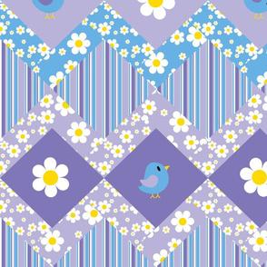Little Birdy Zig Zag Cheater Quilt