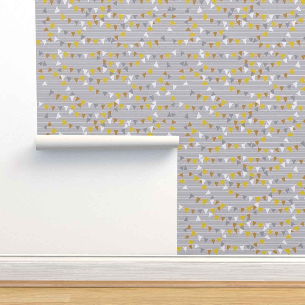 Isobar Durable Wallpaper featuring bunting_light_grey by katarina