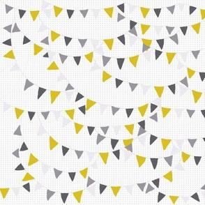 bunting yellow grey dashed