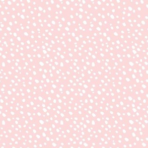 White Dots on Pink - Snowfall in the Forest - Small White Dots on Blush Pink