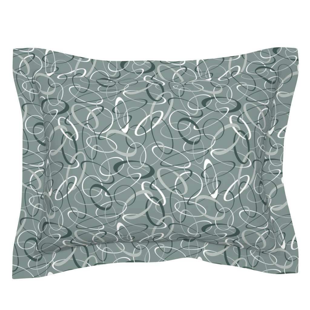 Sebright Pillow Sham featuring Circularity on Mist by jjtrends