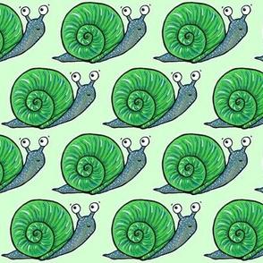 Cute Snail on Green