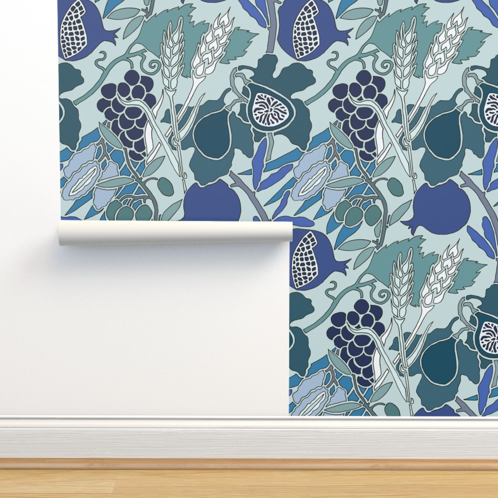 Seven Species Botanical Print In Blue On Isobar By