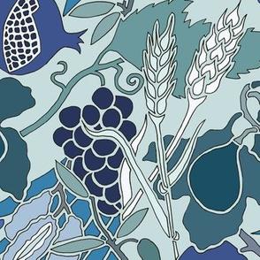 Seven Species Botanical Print in Blue Greens - Original Scale.