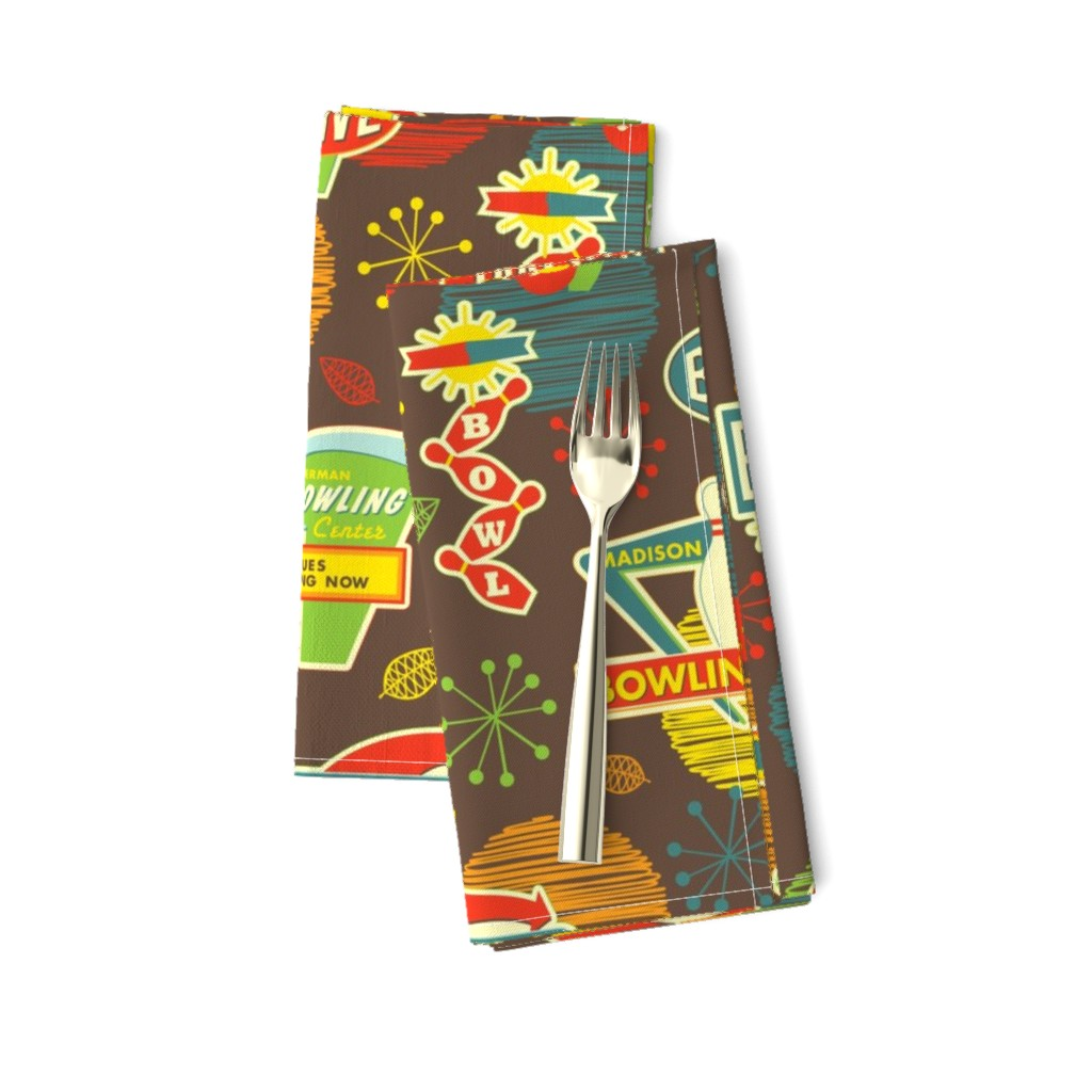 Amarela Dinner Napkins featuring Bowling is Fun for Everyone by jennartdesigns