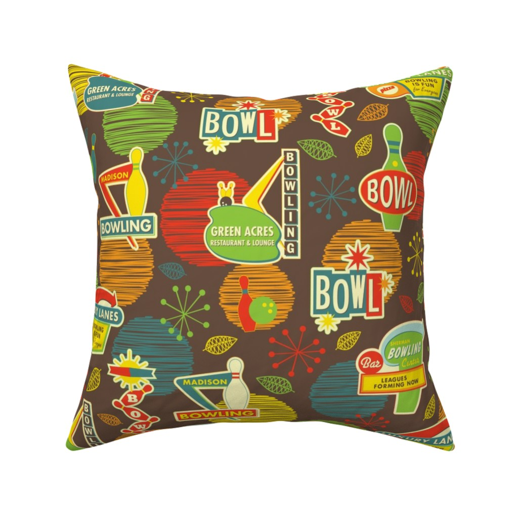 Catalan Throw Pillow featuring Bowling is Fun for Everyone by jennartdesigns