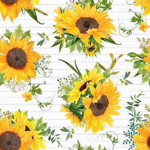 Fall sunflowers painted floral on white wood