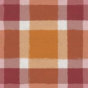 Painted Fall Plaid on burlap in orange and maroon Hokie