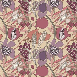 Seven Species Botanical Print in Mauve and Plum - MINI scale