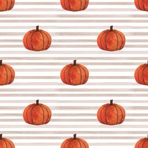 Fall pumpkin on watercolor stripe
