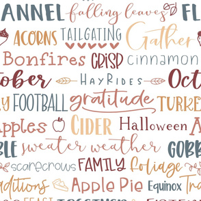 Fall subway words typography in maroon and blue -extra large scale