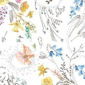 Let's Go Pick Wildflowers (white) MED