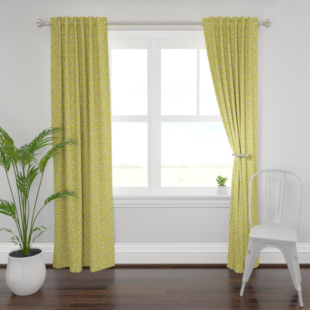 Plymouth Curtain Panel featuring popcorn party yellow – medium scale by colorofmagic