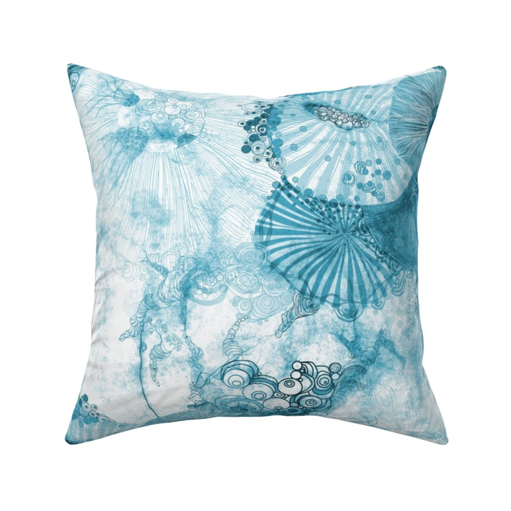 Catalan Throw Pillow featuring whimsical fantasy watercolor art in dreamy blue eternium by mimipinto