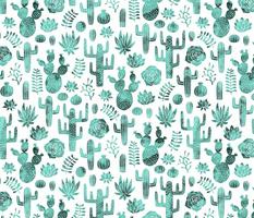 Cactus and succulent monochrome mint watercolor