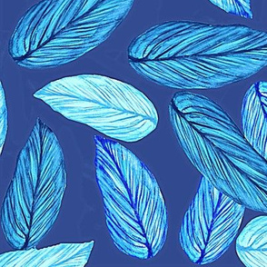 watercolor palm // Tropical Palm ,  neon blue palm