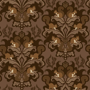 Squirrel Damask - Winter Palette large scale