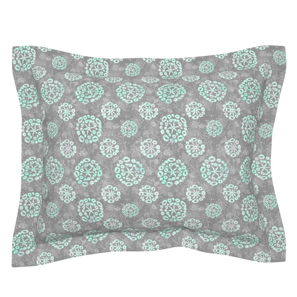 Sebright Pillow Sham featuring Herb-dill batik #5 (grey-mint) by helenpdesigns