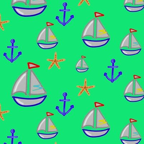 Boat, anchor and starfish on green background - Bateau ancre & étoiles de mer sur fond vert (1)