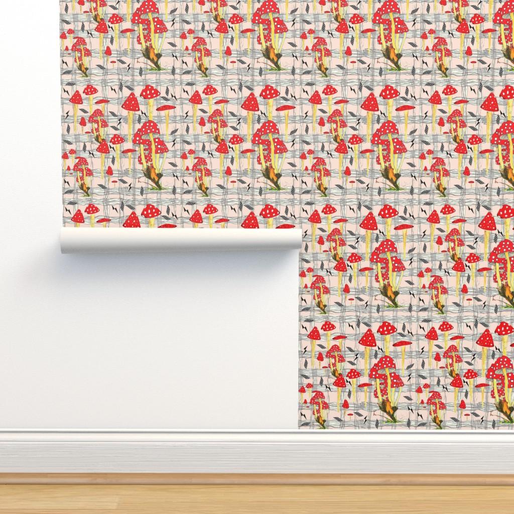 Isobar Durable Wallpaper featuring Toadstool & Diamonds Plaid Peach by hunnellekari