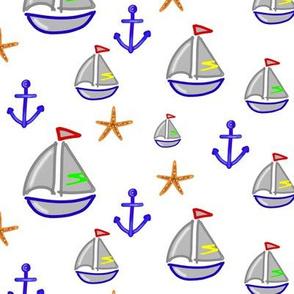 Bateau ancre & étoiles de mer - Boat, anchor and starfish