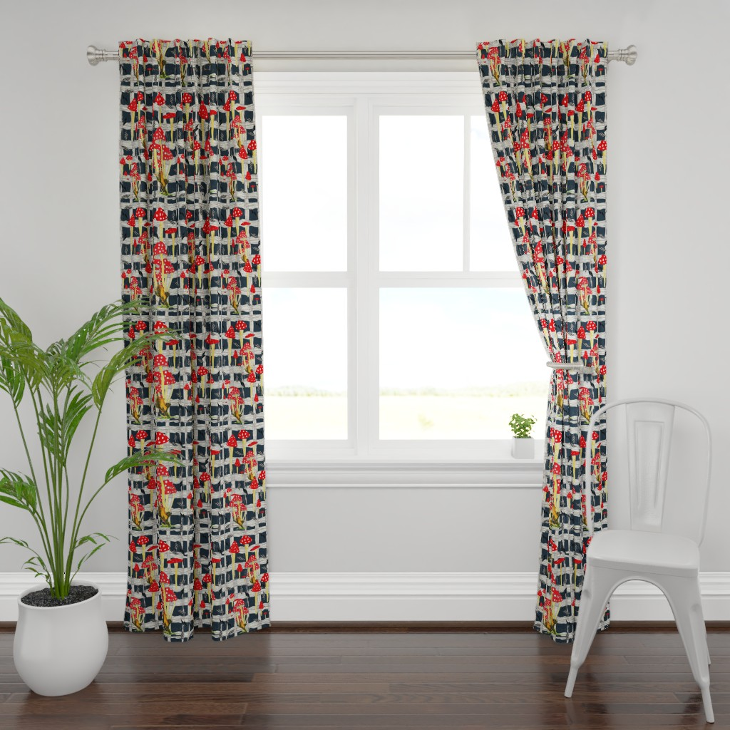 Plymouth Curtain Panel featuring Toadstools & Diamonds Plaid Graphite by hunnellekari