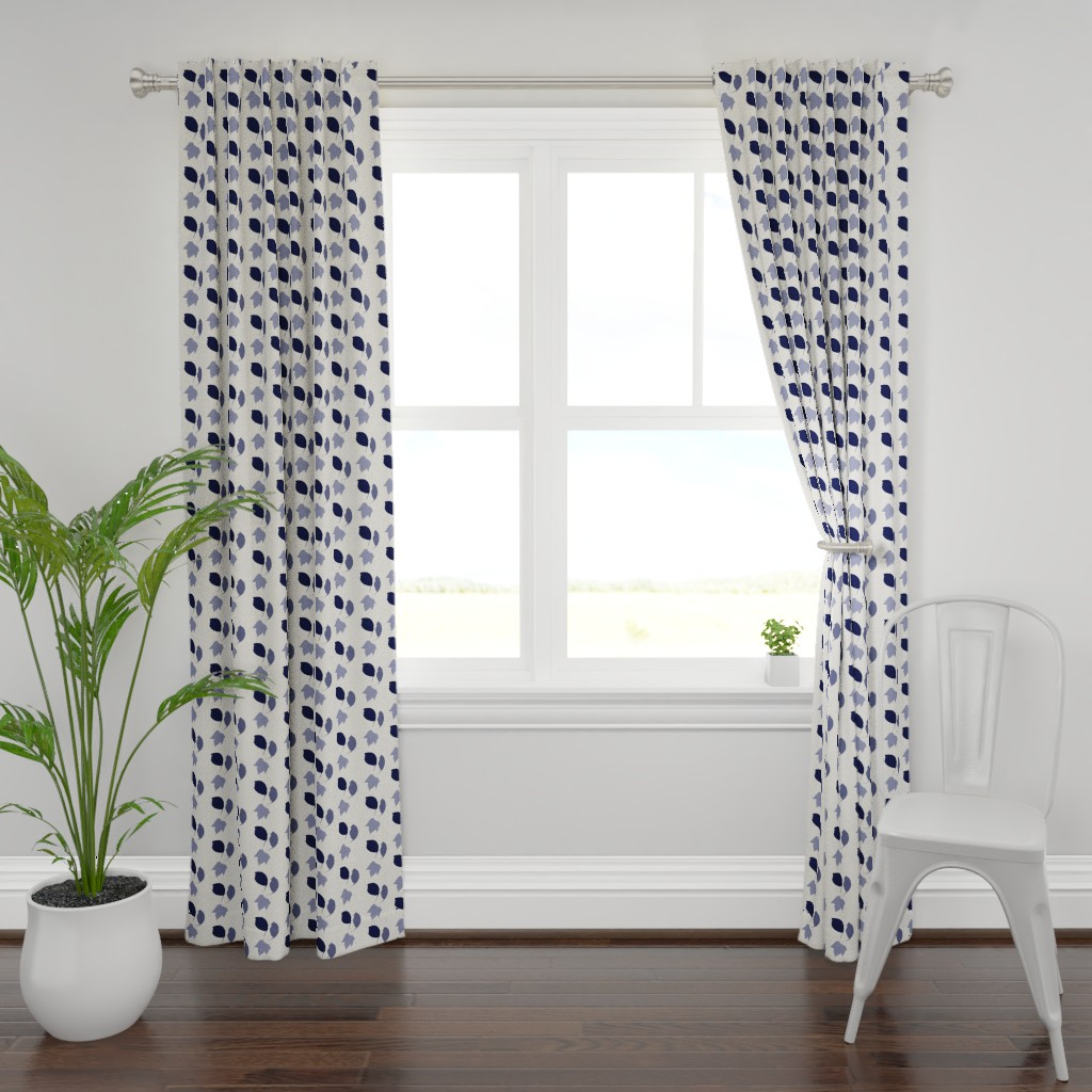 Plymouth Curtain Panel featuring Elm + maple leaves, in Prussian Blue monochrome off-white by Su_G by su_g