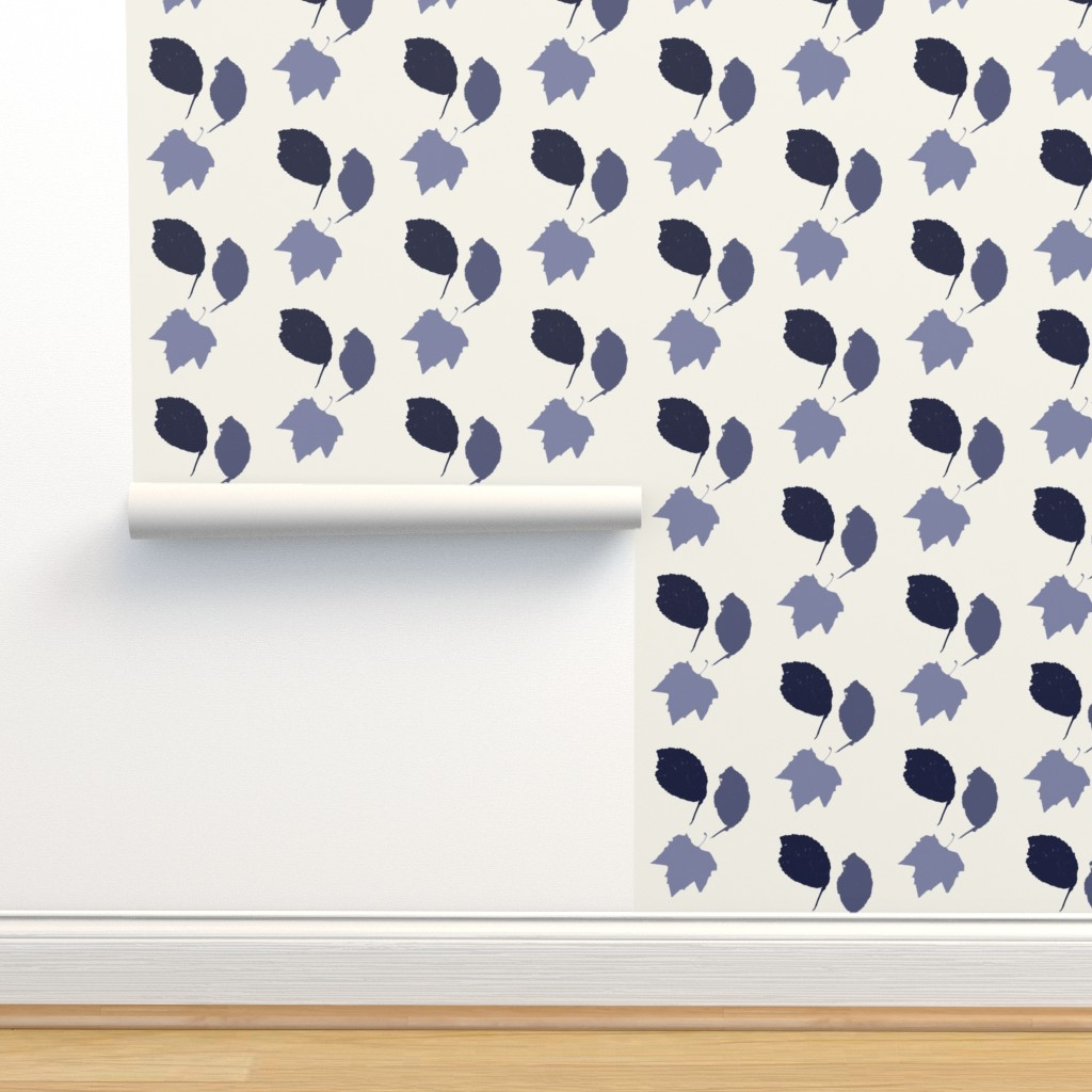 Isobar Durable Wallpaper featuring Elm + maple leaves, in Prussian Blue monochrome off-white by Su_G by su_g