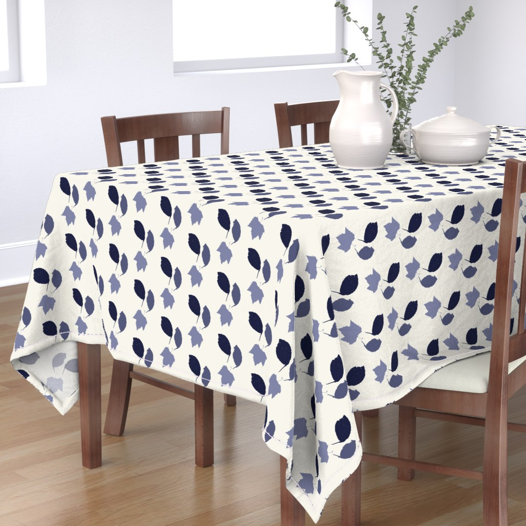 Bantam Rectangular Tablecloth featuring Elm + maple leaves, in Prussian Blue monochrome off-white by Su_G by su_g