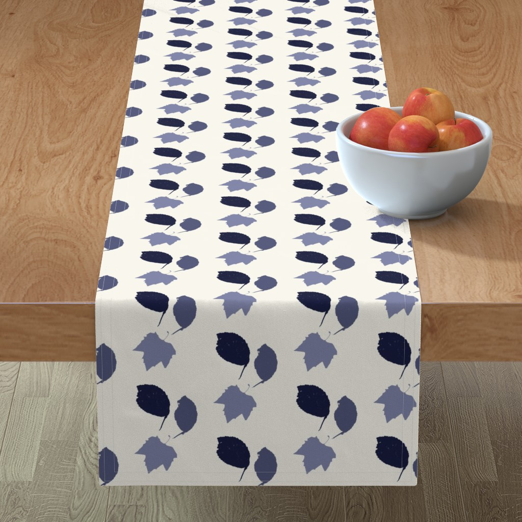 Minorca Table Runner featuring Elm + maple leaves, in Prussian Blue monochrome off-white by Su_G by su_g