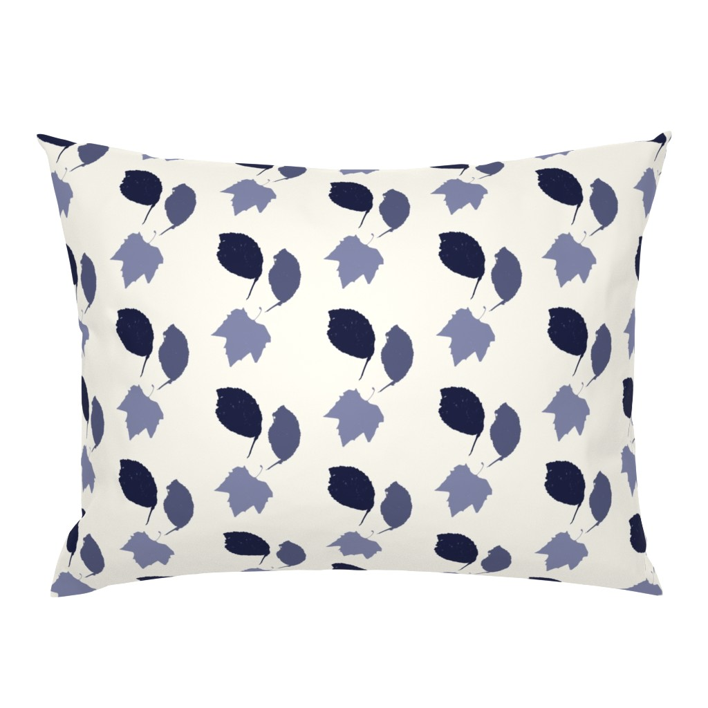 Campine Pillow Sham featuring Elm + maple leaves, in Prussian Blue monochrome off-white by Su_G by su_g