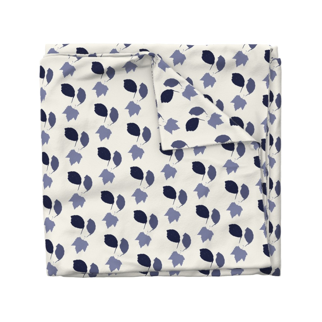 Wyandotte Duvet Cover featuring Elm + maple leaves, in Prussian Blue monochrome off-white by Su_G by su_g
