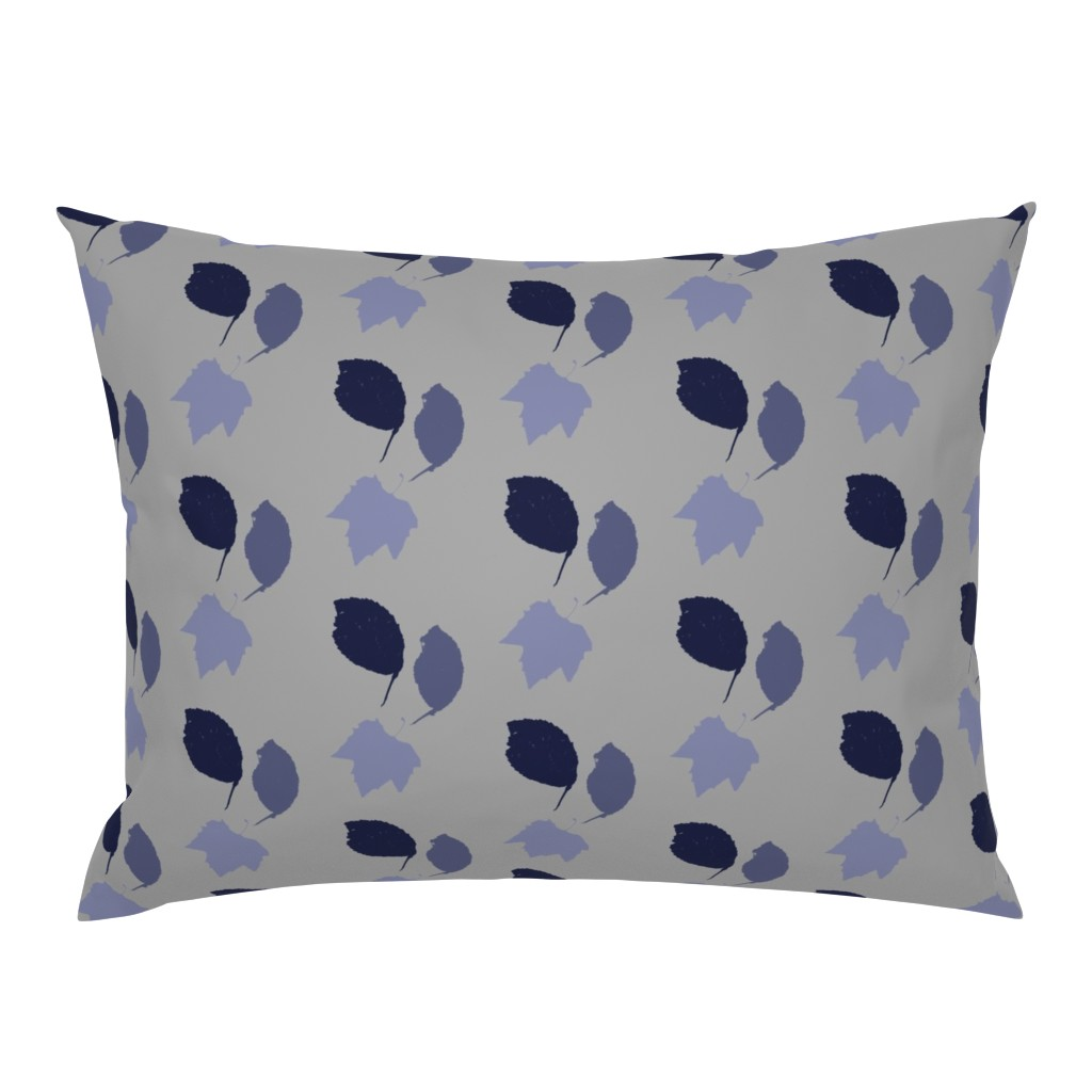 Campine Pillow Sham featuring Elm + maple leaves, in Prussian Blue monochrome on its pale self by Su_G by su_g