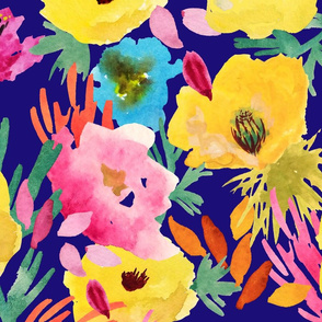 COMPOSITION WITH YELLOW POPPIES ON DARK BLUE