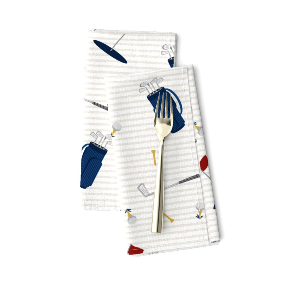 Amarela Dinner Napkins featuring tee time - navy tan - golf themed fabric by littlearrowdesign