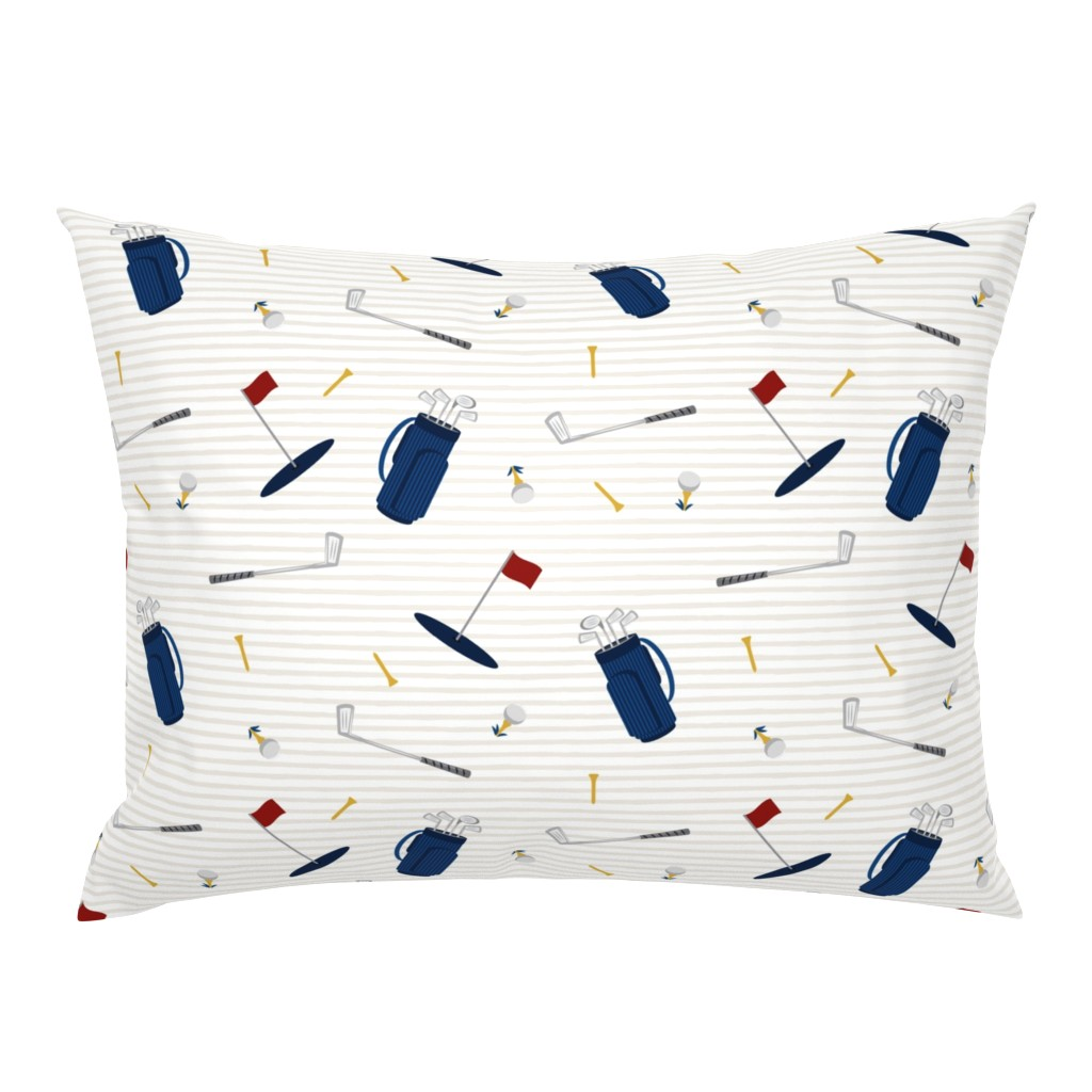 Campine Pillow Sham featuring tee time - navy tan - golf themed fabric by littlearrowdesign