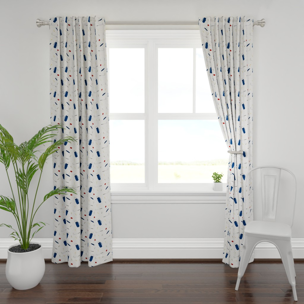 Plymouth Curtain Panel featuring tee time - navy tan - golf themed fabric by littlearrowdesign