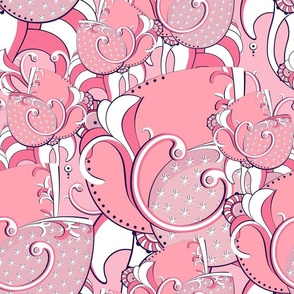 Abstract light pink flowers. Light pink background