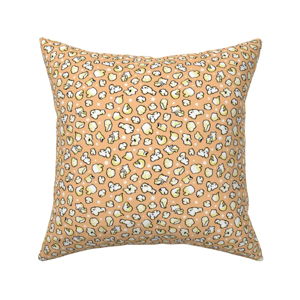 Catalan Throw Pillow featuring popcorn party orange by colorofmagic