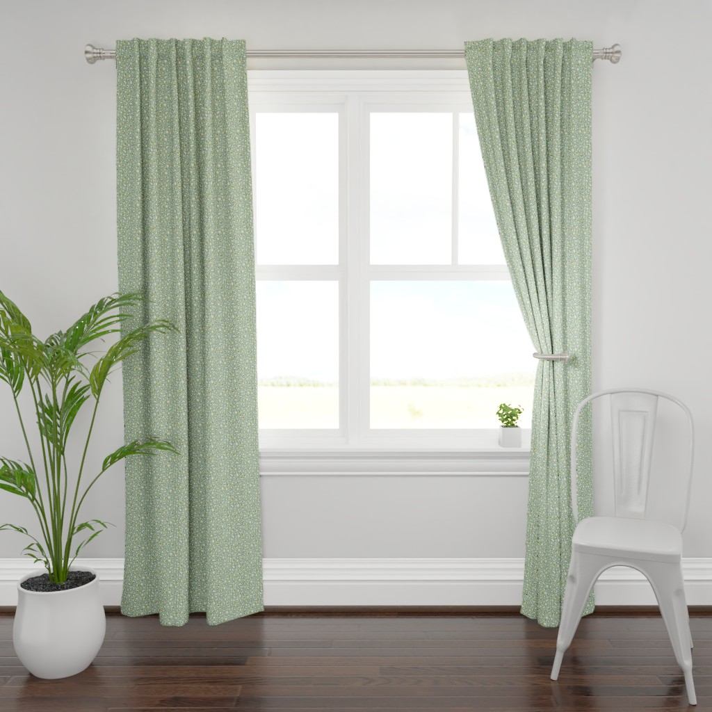 Plymouth Curtain Panel featuring popcorn party mint green by colorofmagic