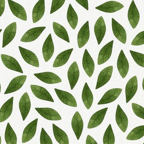 Green Watercolor Leaves Seamless Pattern