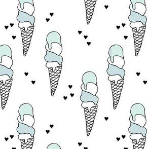Hot summer blue pistaccio mint ice cream cone popsicle summer design print for kids