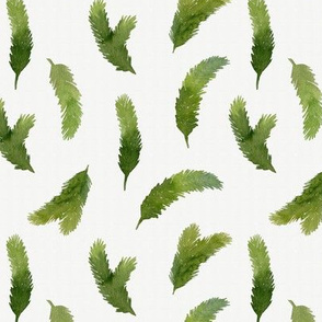 Watercolor pine tree branches seamless pattern