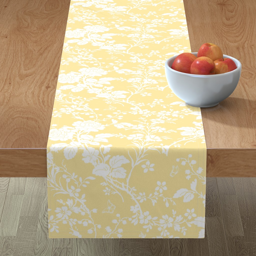 Minorca Table Runner featuring Bridal Suite buttercup by lilyoake
